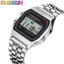 SYNOKE Women Men Unisex Watch Gold Silver Vintage LED Digital G Sports Shock Wri