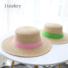2019 Summer high quality women hat Raffia ribbon sun Visor Beach holiday cap Lady outdoor Wide side Panama