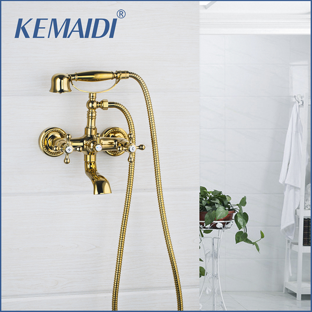 KEMAIDI Bathtub Faucet Shower Set Wall Mounted Mixer Double Handles Golden With Hand Holder Shower Bathtub Tap Basin Faucets frap new bathroom shower faucets set black bathtub tap mixer wall mounted waterfall bathtub faucet with hand shower head f2242