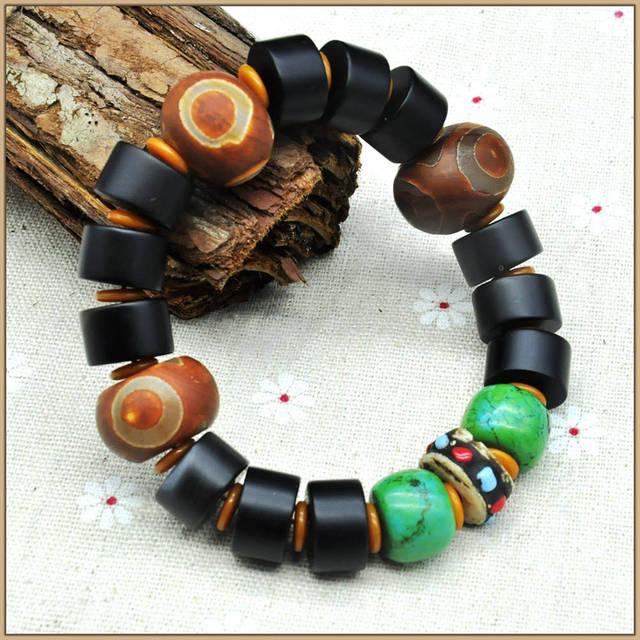 Yumten Natural Agate Tibetan Eyes Dzi Beads Bracelets Black Bracelet Crystal Turquoise Buddhist Prayer