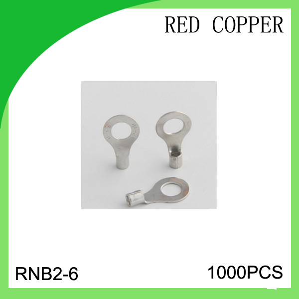 red copper 1000 PCS RNB2-6 cold-pressure terminal  connector cable lug hot sales 5 2 circular annular lug ground lug 100 to loop wiring lug cold copper tips