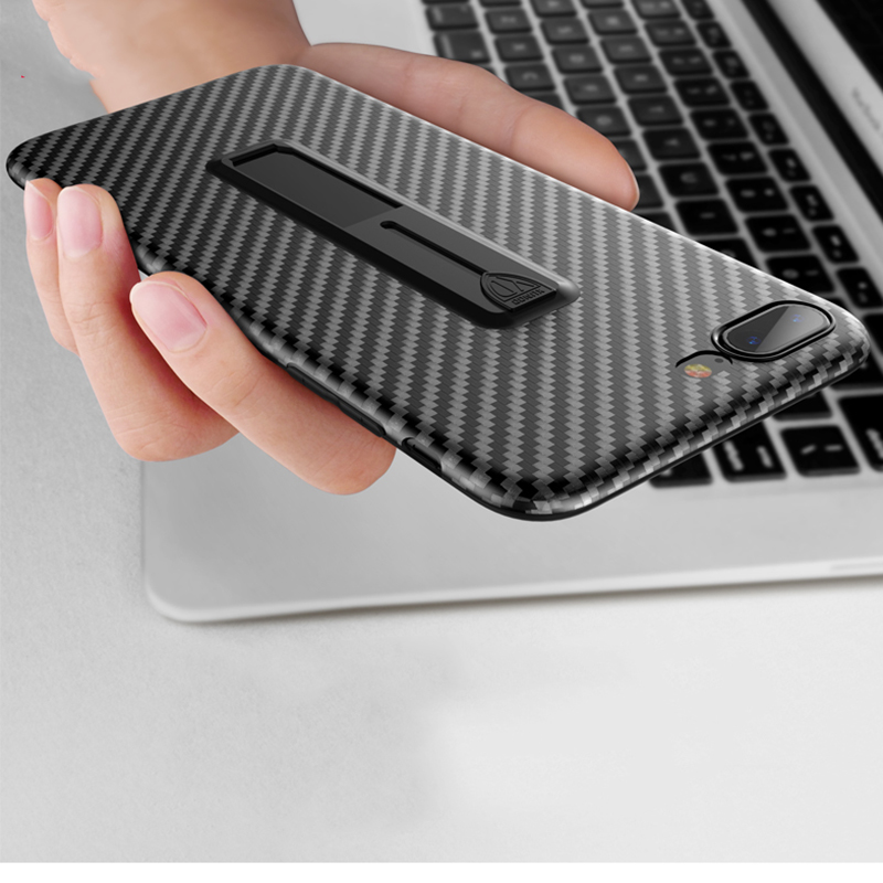Luxury Carbon Fiber Ring Bracket Case For iPhone X 8 7 6 6S Plus Soft TPU Cover For Samsung Galaxy S8 Plus Note 8 Stand Cases