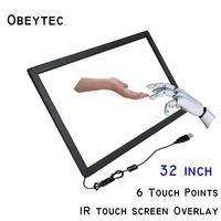 Obeytec 32 inch Touch Screen Overlay Kit, 6 Points, without Glass, Aluminum Alloy Frame, Easy Assembly