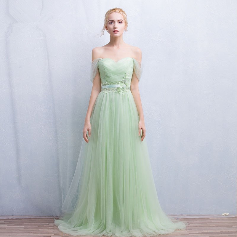 Buy long tulle mint green bridesmaid for Mint green wedding dress