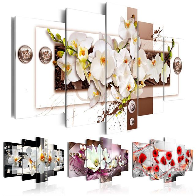 Fashion Wall Art Canvas Painting 5 Pieces Mangnolia Flower Orchid Flower  Modern Home Decoration,Choose