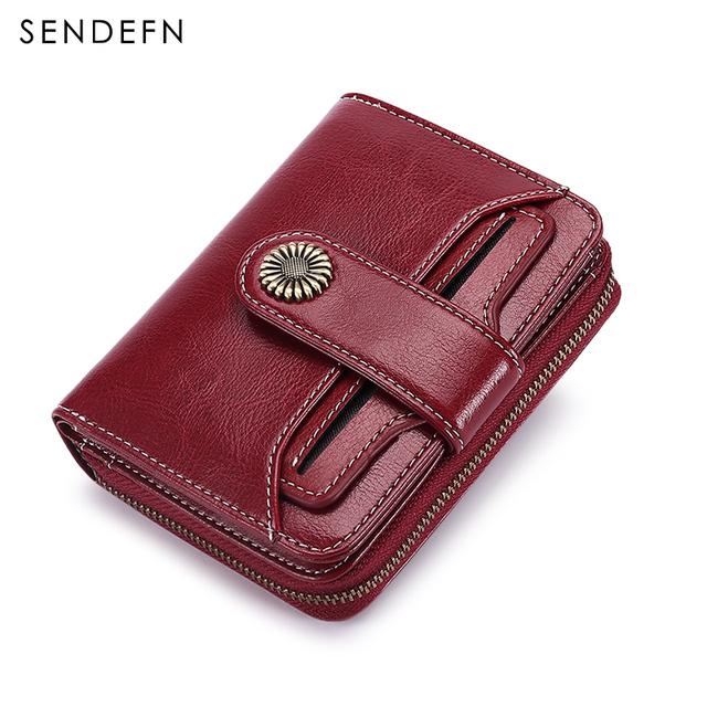 Cartera billetera de mujer SENDEFN tendencia cartera corta Cartera de calidad monedero de mujer botón monedero calidad flor Hardware 5185H-75