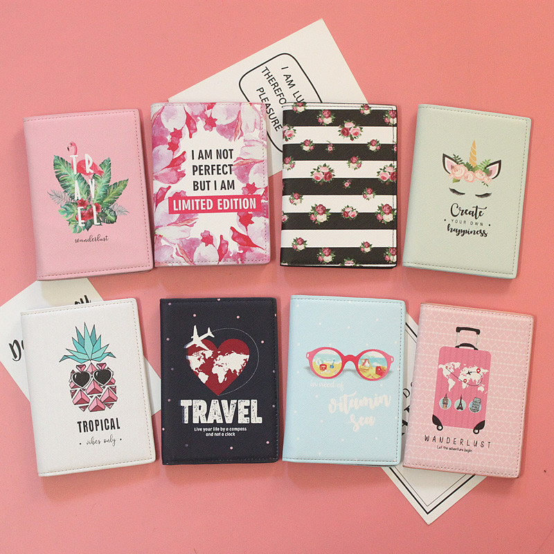 New Design Love Airplane Travel Flower Passport Covers Travel Accessories ID Bank Credit Card Bag Men Women Passport Holder Case image