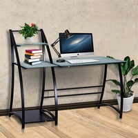 Glass Top Writing Study Table Computer Desk with Shelves Office Furniture HW56319