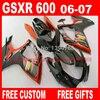 Fairing Kit For 06 07 SUZUKI K6 K7 GSXR 600 750 Brown Black Fairings Set Gsxr600