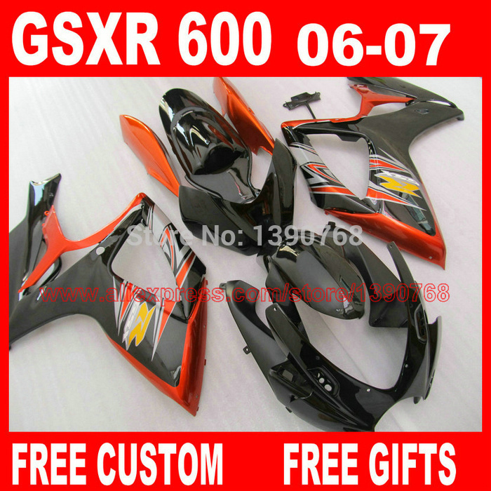 fairing kit for 06 07 SUZUKI K6 K7 GSXR 600 750 brown black  fairings set gsxr600 2006 GSXR750 2007 CB32 lowest price fairing kit for suzuki gsxr 600 750 k4 2004 2005 blue black fairings set gsxr600 gsxr750 04 05 eg12