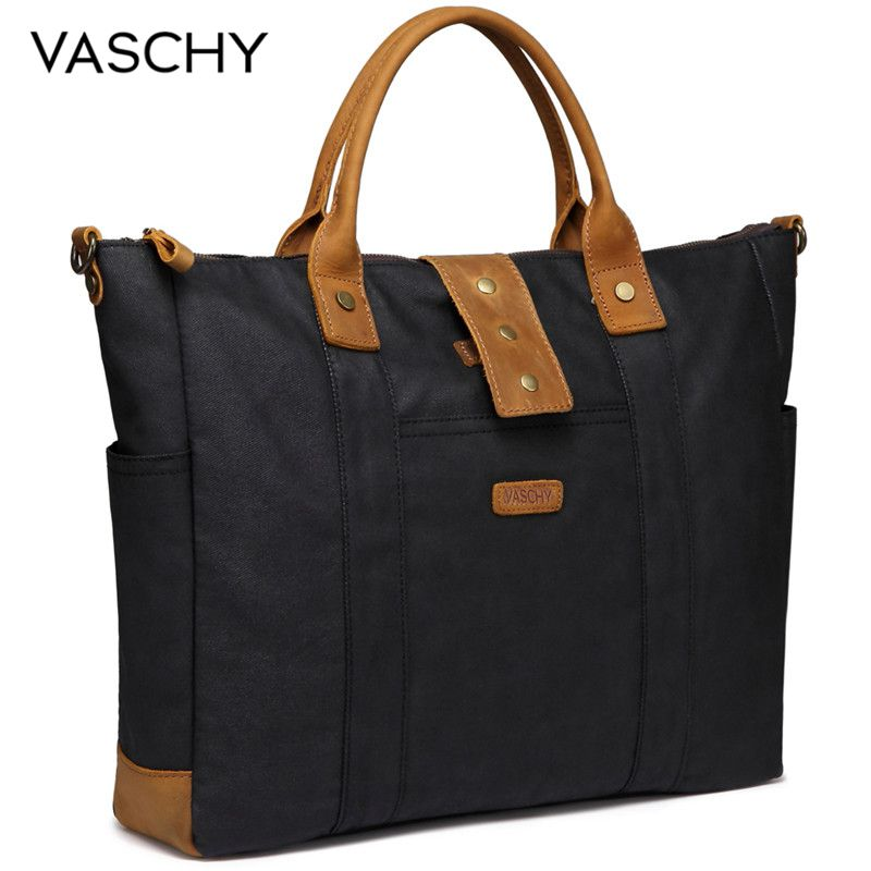 VASCHY Laptop Bag for Women Vintage Waxed Canvas Tote Work Bag Water Resistant Stylish Women Handbag  Business Women BagsVASCHY Laptop Bag for Women Vintage Waxed Canvas Tote Work Bag Water Resistant Stylish Women Handbag  Business Women Bags