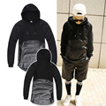 Faux Leather Patchwork Men Hoodies Newest Fashion Black Hooded Homme Pullover Hip Hop Style Curved Hem Man Sweatshirt M-XL
