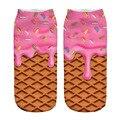 2 Par/set 3D Impresa de Las Mujeres Calcetines de color rosa helado lindo Impreso de Algodón Calcetines Casual 3D Calcetines calcetines Calcetín