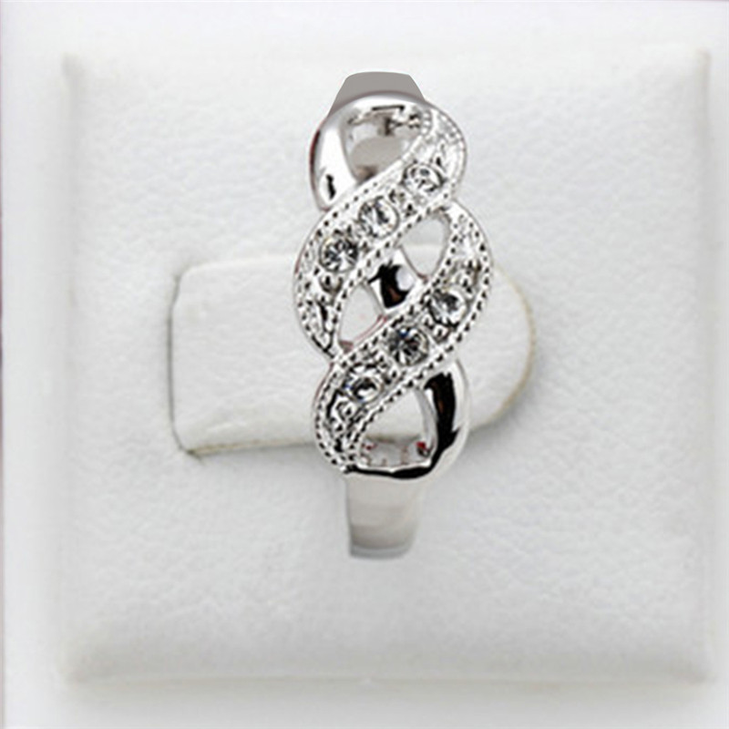 GS Rings for Women Valentine Present Fashion Spiral CZ Crystal Rose Gold Silver Color Mid Ring Cubic Zirconia Promise Jewelry Y3