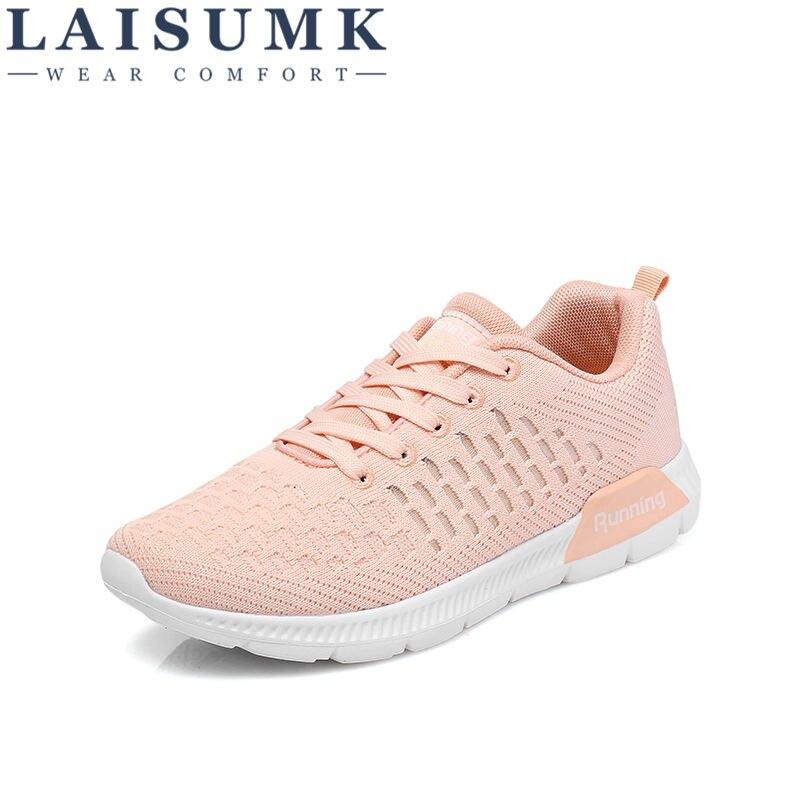 1f0659c2a745e gris Cuir Net Tenis En Mujer D air Mode rose Amortissement 2019 Noir  Feminino Casual Femme Chaussures ...