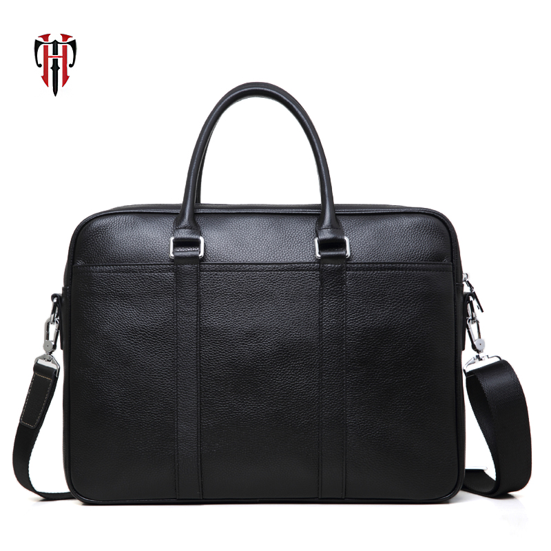 TIANHOO 14 inch laptop genuine leather messenger bag business Sewing thread handlebags males totes