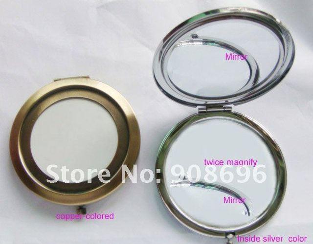 10pcs compact mirror DIY Portable Metal cosmetic mirror copper