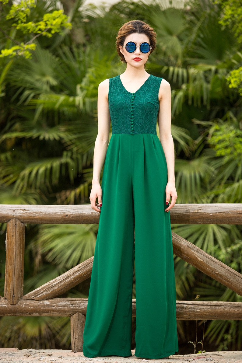 2019 Sexy Summer Jumpsuit Party Bohemian Overalls Rompers Chiffon Elegant Green Full Length Lace Wide Leg Bodysuit S M L XL