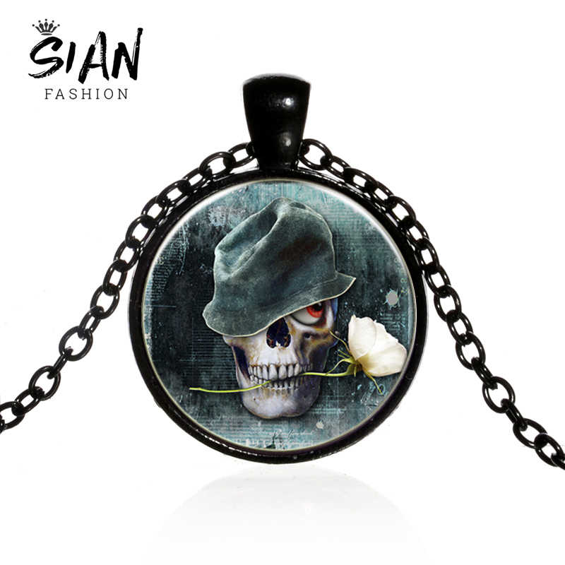 SIAN Vintage Skeleton Long Necklace Skull White Rose Glass Dome Pendant Necklace Gothic Punk Jewelry Halloween Gift for Friends