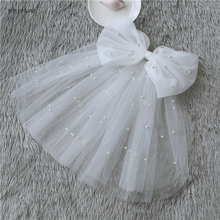 Little Short Bridal Veils With Detachable Bow Comb Clip Tulle Beaded Pearls Shoulder Length Mini Wedding Veil In Stock