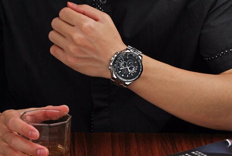 The New WWOOR Luxury Brand Men's Watches Stainless Steel Strap Sports Waterproof Watch Relogio Male Quartz Watch Leisure Watch 6