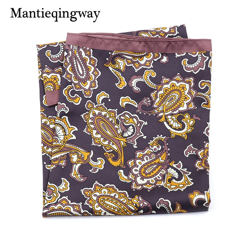Mantieqingway Floral Polyester Pocket Square For Men 55*55cm Big Handkercheif Chest Towel Collar Scarf Pocket Square Hankies