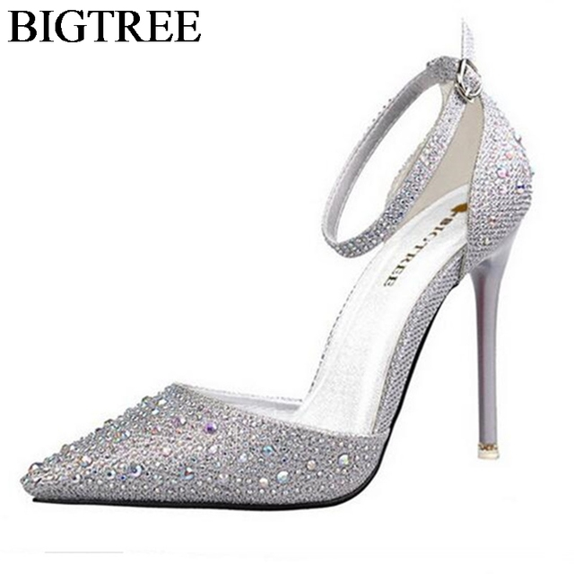bb9abfc2ae0 Shiny Diamond Heels Shoes Silver Gold Pointed Toe Party Shoes Woman Bling  Ankle Strap High-heeled Sandals Women Wedding Princess