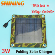 3W Camping Travel Portable Solar Charger Solar Panel Cellphone Mobile Solar Panel Charging Kits Built-in Voltage Controller(China)