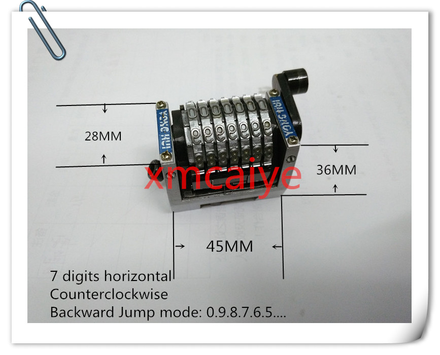 2 Pieces  GTO 7 Digits Horizontal Numbering Machine  , Backward Jump Moth 0987654...