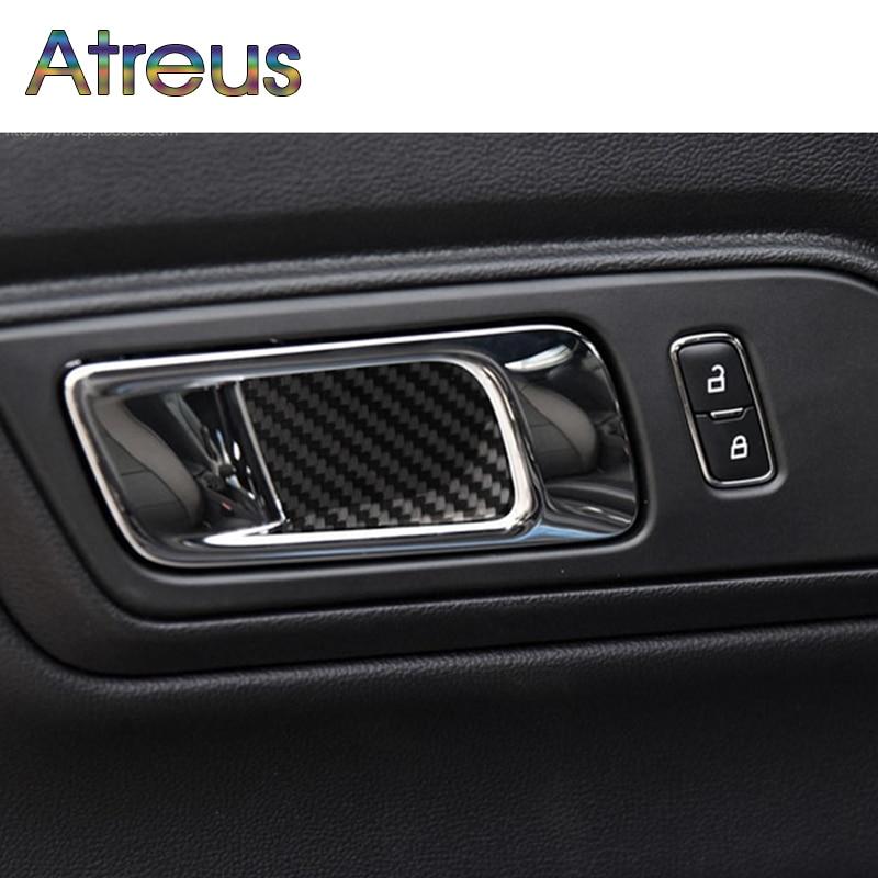 Atreus Carbon Firber Sticker For ford-mustang Ford Mustang Accessories Mustang 2015 2016 2017 GT500 GT350 Door Handles Door Bowl 4 door ford galaxy 2006 2015
