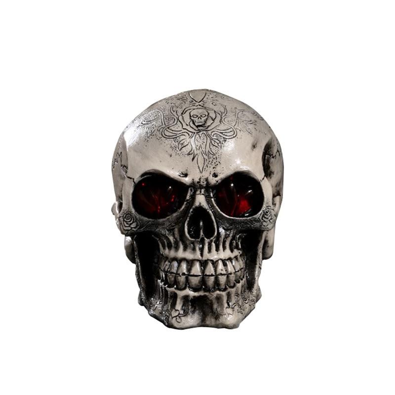Led resin skull statue figurine human shaped skeleton head for Skull home decor
