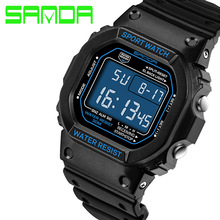 SANDA fashion sport led watch military digital Men's watches electronic silicone waterproof Clock relogio masculino esportivo