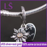 LS 100 Silver And 14 K Gold Snowflake Heart Pendant Charm Fit Original Bracelets Pulseira Pingente