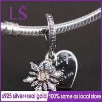 LS 100 Silver And 14 K Gold Snowflake Heart Pendant Charm Fit Original Bracelets Pulseira Pingente
