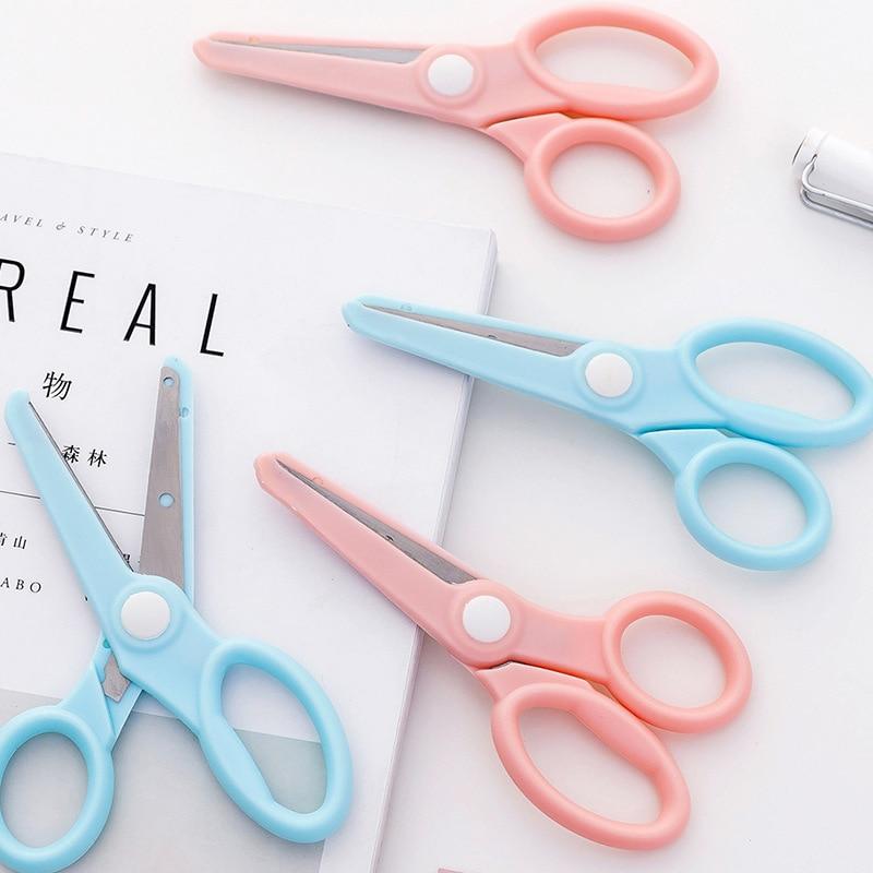 Cute Mini Safety Round Head Plastic Scissors Student Children Kids Paper Diy Cutting Minions Supplies For Kindergarten School