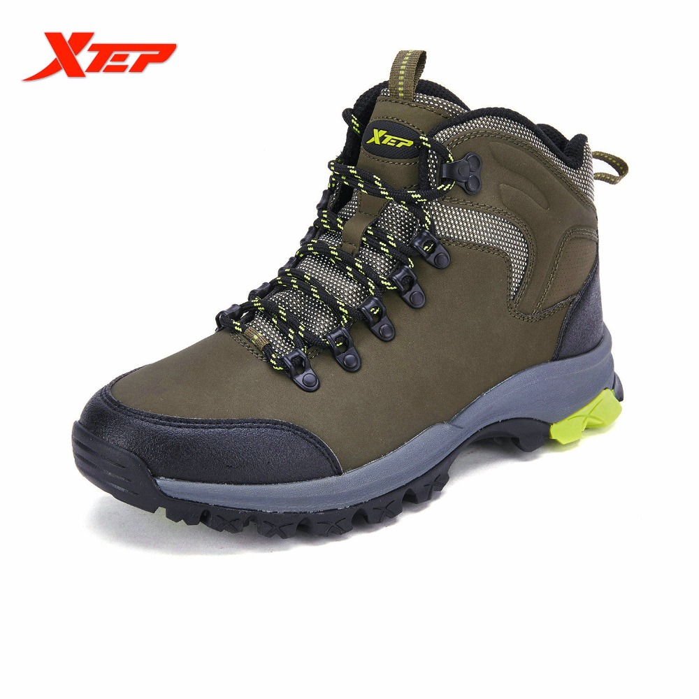 ФОТО XTEP Autumn and Winter Mens Outdoor Hiking Climbing Shoes Boots Shock Absorption Mountaineering Trek Sports Sneaker 986419179626
