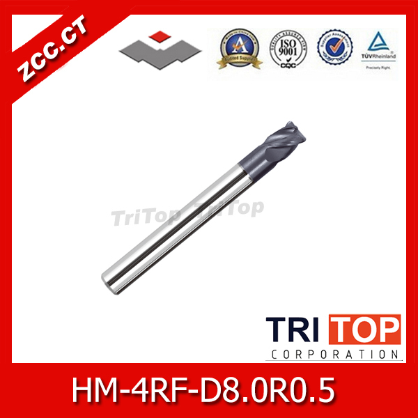 100%Guarantee Original ZCC.CT HM/HMX-4RF-D8.0R0.5 Solid carbide 4-flute Radius  end mills with straight shank lathe tools