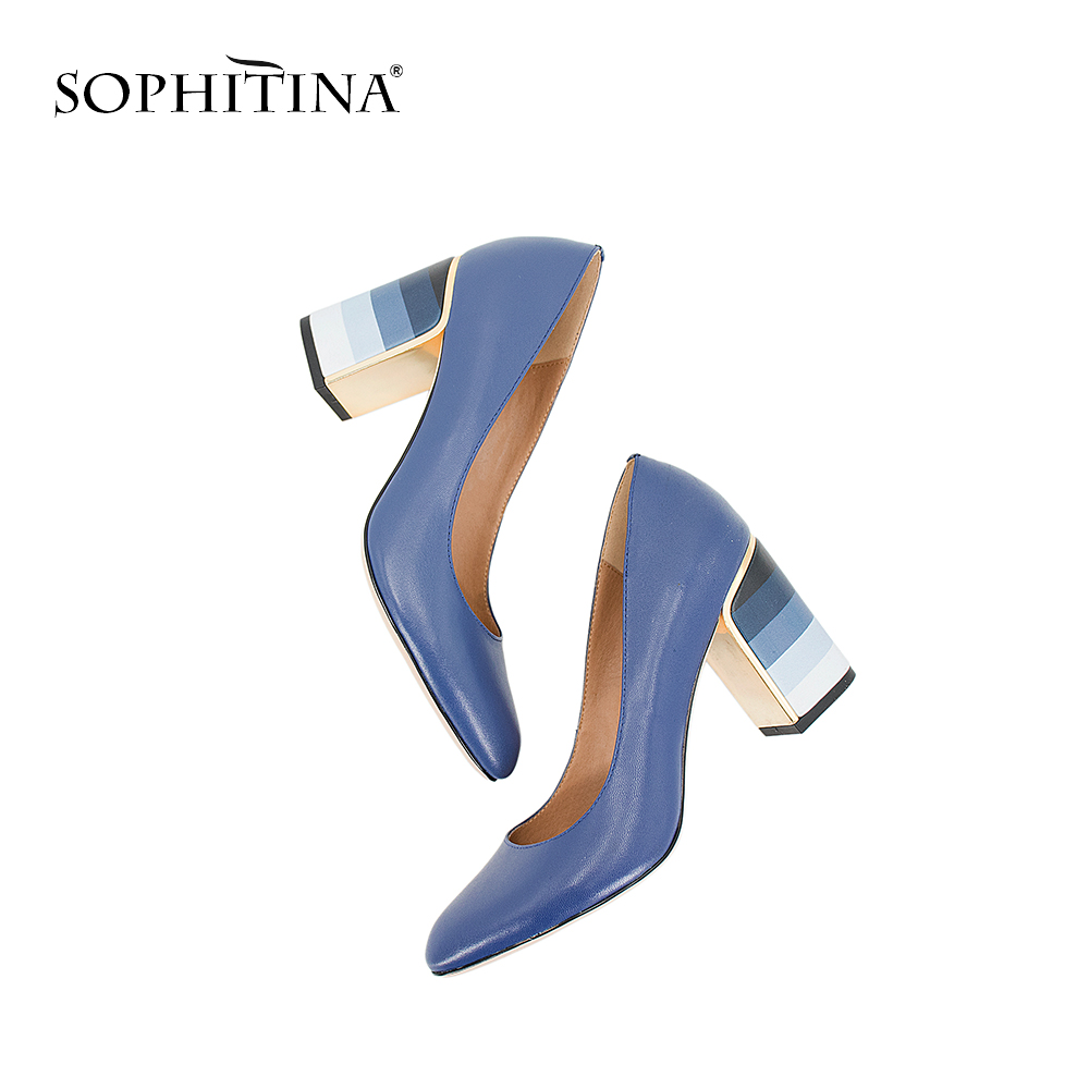 SOPHITINA 2019 Hot Sale Pumps Fashion Colorful Square Heel High Quality Sheepskin Round Toe Shoes New Elegant Women's Pumps W10