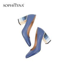 SOPHITINA 2019 Hot Sale Pumps Fashion Colorful Square Heel High Quality Sheepskin Round Toe Shoes New Elegant Women's Pumps W10