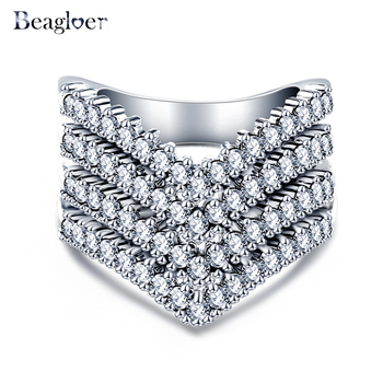 Beagloer Exquisite Engagement Big Rings Silver Color Paved Ring Party Jewelry for Women Alibaba Aliexpress CRI0333 invisible bra
