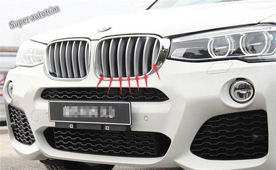 For BMW X3 F25 2012 2013 2014 2015 2016 2017 ABS More Fashion Car Styling Front Grille Grill Cover Trim A Set for toyota corolla altis 2014 2015 2016 car body styling cover detector abs chrome trim front up grid grill grille hoods 1pcs