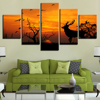 Canvas Print Poster Wall Art Framework 5 Pieces Forest Animal Deer Sunset Silhouette Painting Picture For Living Room Home Decor