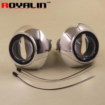 ROYALIN Styling Bi-xenon Projector Lens For Hella 3R H4 Auto Head Lights Retrofits Full Matal LHD w/Shrouds Use D2S D2H Bulbs