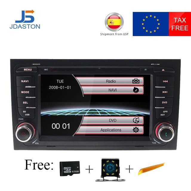 JDASTON 2 Din Car DVD Multimedia Player for AUDI A4 2002-2008 GPS Navigation Radio Audio Bluetooth Map Canbus Steering wheel RDS