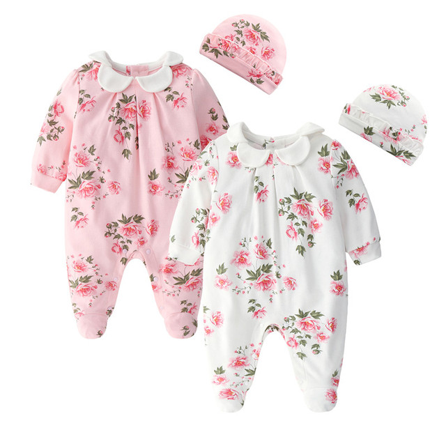 9651277641a66 Floral Printing Newborn Baby Girl Clothes Peter Pan Collar Jumpsuits & Hats  Clothing Sets 2019 Princess Girls Footies Body suits