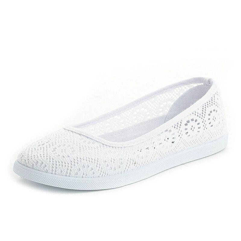 Découpes Respirant Floral Infirmière Dentelle Creux Été Casual White Toile Plat Plate Femmes Feminino436 Chaussures forme q8ffwxIz