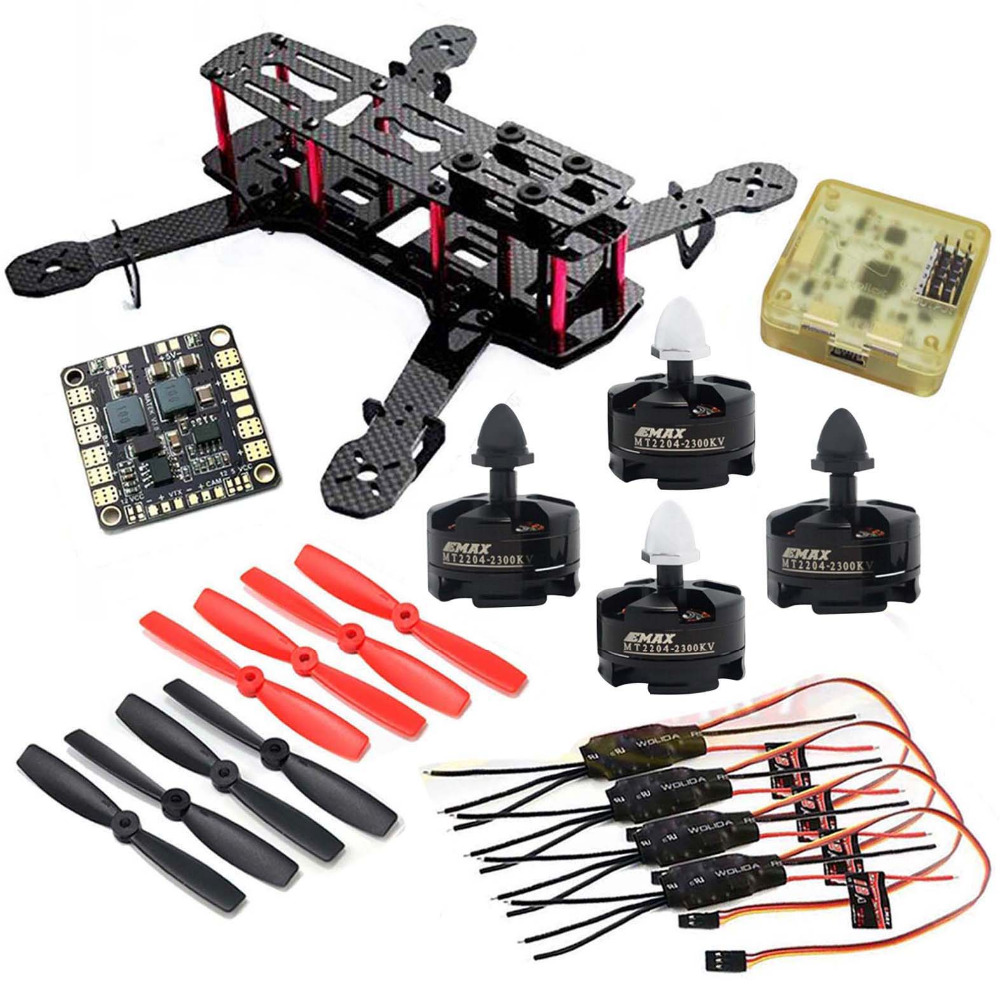 Carbon Quadcopter MT2204 2300KV Motor Simonk 12A ESC CC3D FC 5045 Props Hight Quality OEM mini zmr250 carbon fiber quadcopter cc3d evo control mt2204 2300kv motor emax blheli firmware 20a esc 5045 prop led lights board