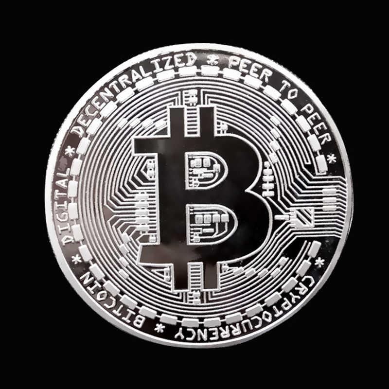 Vàng/Bạc/Mạ Đồng Bitcoin Sưu Tập Tặng BTC Đồng Bộ Sưu Tập Nghệ Thuật Kim Loại Thủ Công Trang Trí Bit Đồng Xu Thả Vận Chuyển