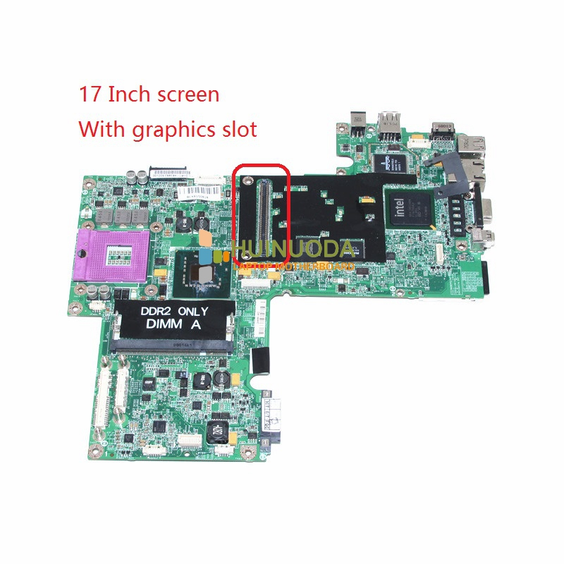 CN-0UK435 UK435 Mainboard For Dell Inspiron Series 1720 Laptop Motherboard 17 inch 965PM DDR2 With GPU slot cn 0md666 laptop motherboard for dell inspiron 6400 e1505 da0fm1mb6f5 rev f 945gm ddr2 mainboard mother boards