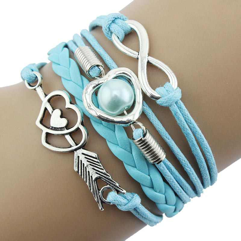 Stylish Jewelry Women bracelet for hair tie Infinity Love Heart Pearl Friendship Antique Leather Charm Bracelet Collar Gothic